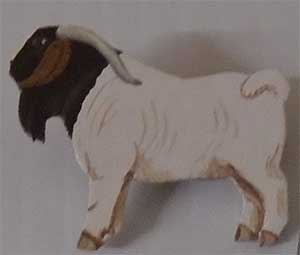 boer goat leather pin