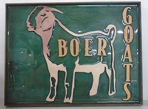 wooden signs, boer goat