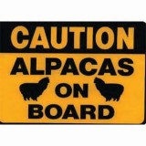 Sticker Caution Alpaca 9 X 12